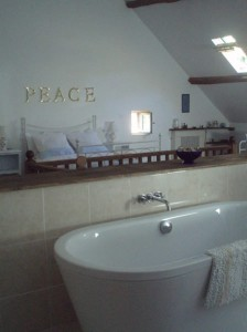Loft, double bed and bath
